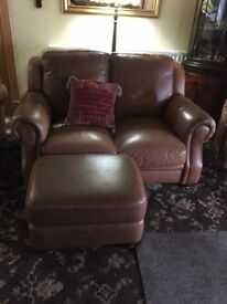 Tan Italian leather 2x2 seater sofas with matching footstool