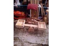 Wooden see-saw garden ornament/planter - handmade