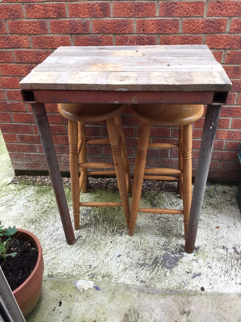 Industrial Style Garden Breakfast Bar High Table Amp Stools