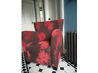 Beautiful Upholstered Armchair Brown & Red
