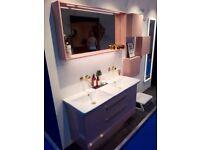 Dansani Calidris 120cm Double Vanity Unit Soft Rose Gloss RRP £9584 Ex-Display