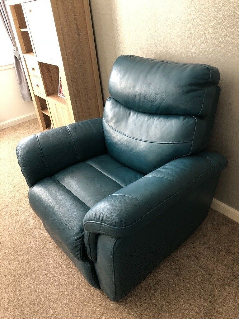 Teal leather recliner sofa and chair | in Paisley ...