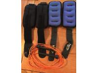 Exercise ankle or wrist weights and skipping rope