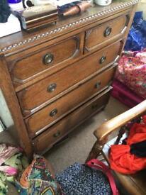 Antique vintage set of solid wood drawers