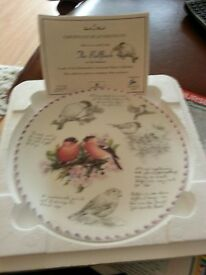 birdwatchers notebook plate the bullfinch Eric Robson with certificate of authentication