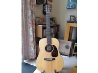 Martin Dreadnought Junior Guitar with Martin embroidered gig bag excellent condition recent set up