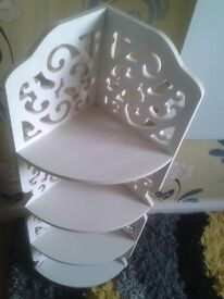 white plantstand with scroll pattern new