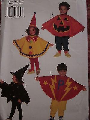 3658 Butterick Nähmuster Kleinkind Kostüme Clown Hexe Pumpkin Pullover Ff