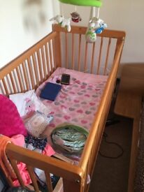 Barely used cot bed/ baby cot