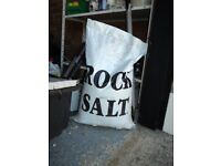 BAGGED ROCK SALT (WHITE). USED AS DE-ICER FOR ROADS AND PATHS.