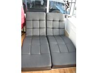 Chaise Longue Loungers Black Faux Leather Relaxing Conservatory sofa/chairs