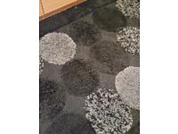 Black Pile Patterned Rug