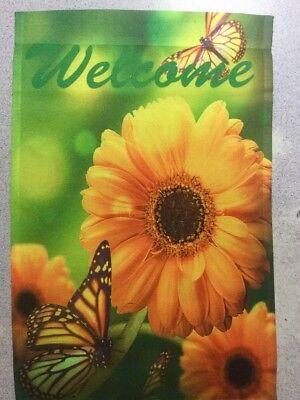 "FM151 WELCOME SUNFLOWERS AND BUTTERFLY SUMMER FLOWER 12""x18"" GARDEN FLAG BANNER"