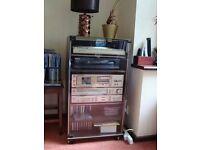 MARANTZ record player, radio, & amplifier with cabinet & speakers