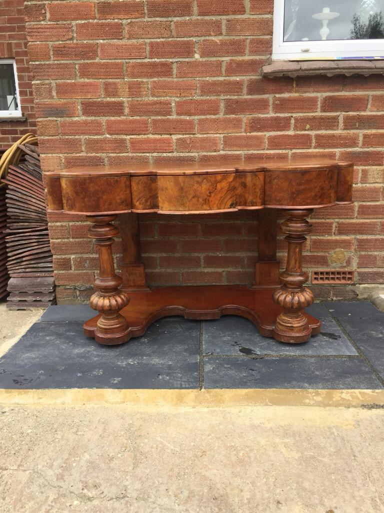 antique mahogany curved console hall table desk with drawer in