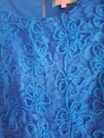 Lovely lace effect blue dress