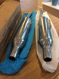 Triumph Scrambler motorcycle: pair of new exhaust mufflers, still in box