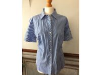 ANN TAYLOR LOFT - Ladies Pin Striped Short Sleeved Blouse. US 16 / UK 20 **NWOT**