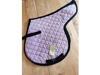 Pink black trim saddle pad