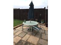 Patio Table & 4 xChair Set + Umbrella