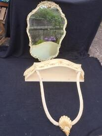 Antique mirror and matching console table