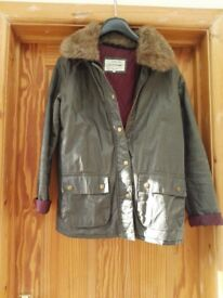 River Island green wax jacket with fur collar size 8