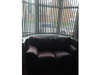 3 + 2 Seater leather burgundy sofas