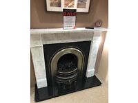 Marble Victorian Style Fireplace With Cast Insert & Electric Fire