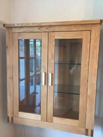 Solid oak & bevelled glass unit