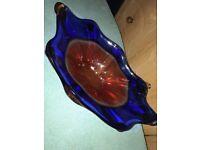 Gorgeous vintage decorative glass fruit bowl