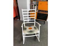 Mid century ladderback rocking chair with Orla Kiely fabric seat