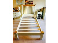 Single Bed, Cream Wooden Frame, purchased Living Room, Glasgow. Excellent condition. For collection.