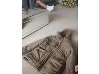 Beige coat with hood
