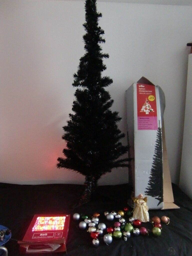 Christmas Tree Black Slimline 35 Baubles 60 Lights Angel Tree Topper In Leicester Leicestershire Gumtree