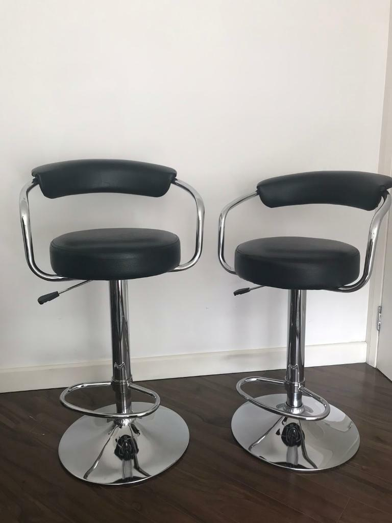 Amazing Set Of 2 Chrome And Black Debenhams Gas Lift Bar Stools In Barrhead Glasgow Gumtree Gmtry Best Dining Table And Chair Ideas Images Gmtryco