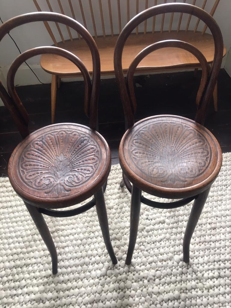 Antique Vintage Bentwood Bistro High Chairs By J J Kohn In