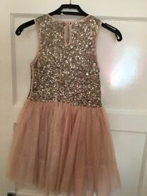 Peach net & sequin dress