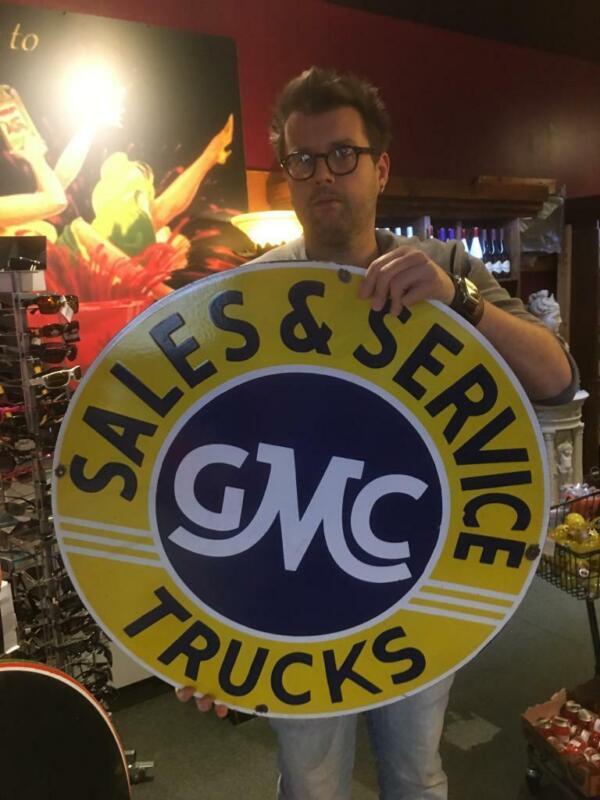 gmc tire beer motor gasoline oil dealer porcelain sign MAKE AN OFFER! 15