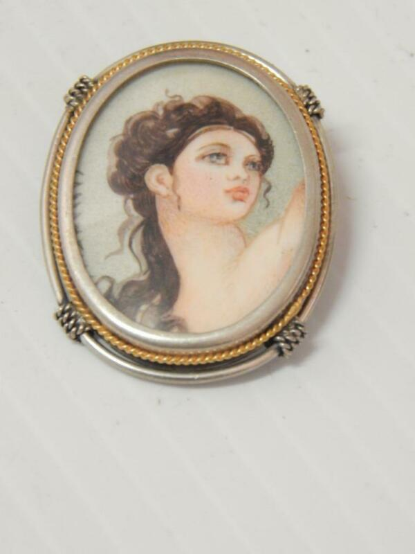 ANTIQUE VICTORIAN 800 SILVER HAND PAINTED PIN / PENDANT 4 NECKLACE