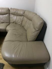 Brown, toffee leather sofa, and round spiny chair
