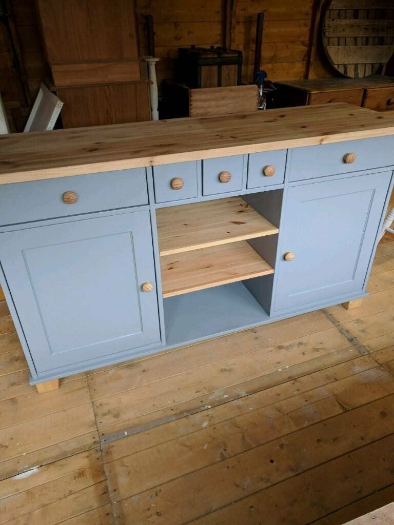 Pine sideboard painted in grey top shelves and feet sanded bare and waxed for protection