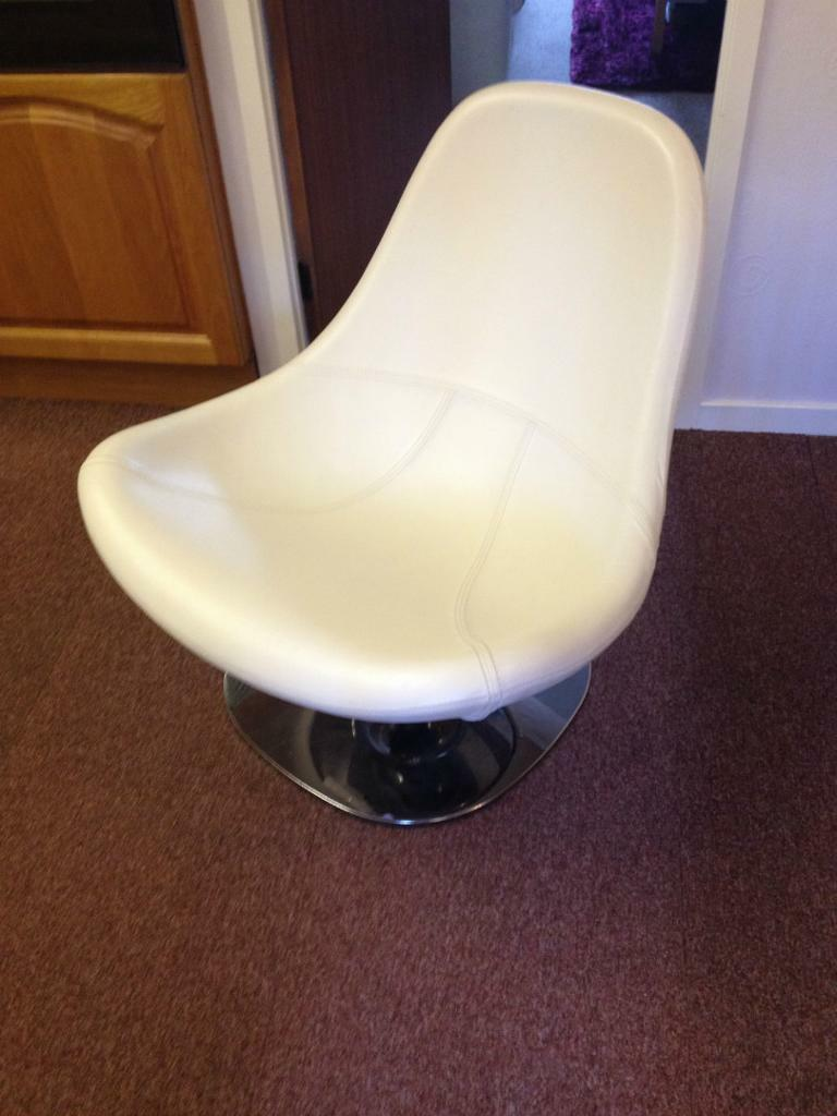 Reduced Ikea Tirup White Leather Swivel Chair