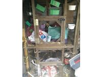 Cage, nest boxes, pots feeders all bird accessories...job lot