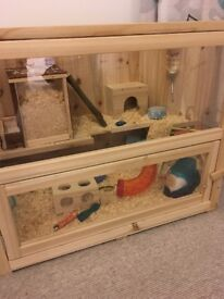 Large Wooden Hamster Cage and Accessories