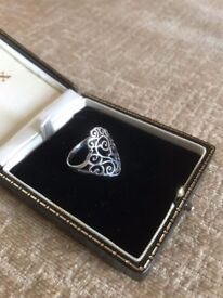 Stirling Silver Gothic Style Retro Ring Size S