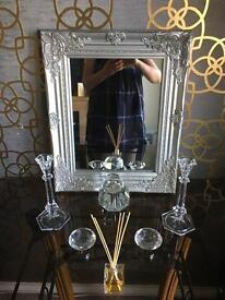 Ornate Shabby Chic Silver Mirror