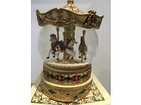 """MUSICAL BOX CAROUSEL BY """"PAST TIMES"""" WIND UP PLAYS CAROUSEL."""