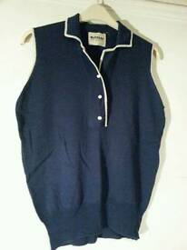 sleeveless wool, cashmere and silk jumper