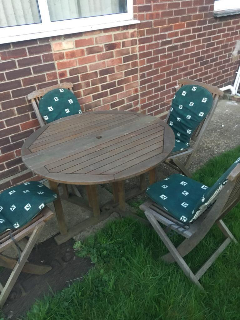 Wooden garden table and chairs cushions furniture fold ...