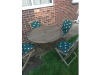 Wooden garden table and chairs cushions furniture fold away
